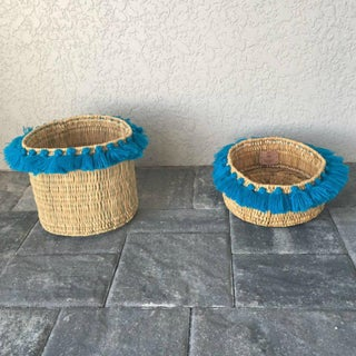 Moroccan Turquoise Tassel Large Basket Preview