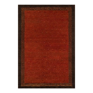 """Transitional Momeni Desert Gabbeh Hand Knotted Paprika Wool Area Rug - 5'3"""" X 8' For Sale"""