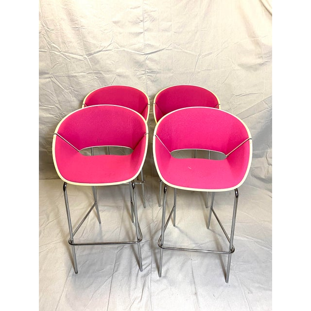 Set of 4 Heavy Duty Chic Pink Fabric Bar Counter Stools Wood Back For Sale - Image 9 of 9