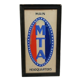"1930 Vintage ""Masso-Therapist Association of Pennsylvania"" ""Mta"" Sign, Framed For Sale"
