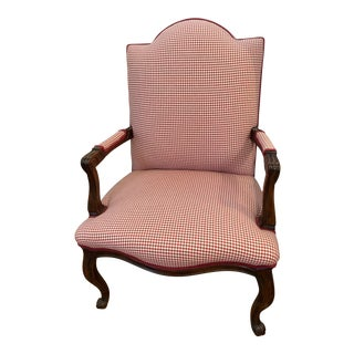 Red Check Open Arm Chair For Sale