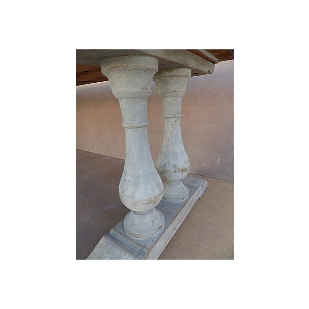 Neoclassical Library Table with Whitewash Finish - Image 9 of 10