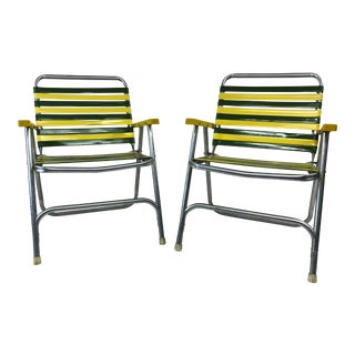 Vintage Yellow & Green Aluminum Folding Chairs - a Pair For Sale