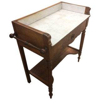 Antique English Regency Mahogany & Marble Mixing Table
