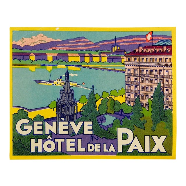 Vintage Luggage Label, Geneve Hotel De La Paix For Sale