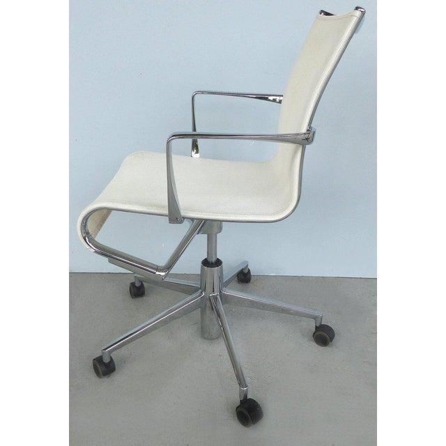 Offered for sale is a rolling frame adjustable height swivel desk chair designed by Alberto Meda for Alias Italy. The...