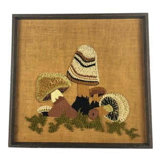 Mid-Century Mushroom Crewel Wall Hanging For Sale