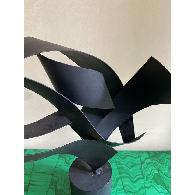 Late 20th Century Vintage Abstract Black Metal Sculpture For Sale - Image 5 of 7