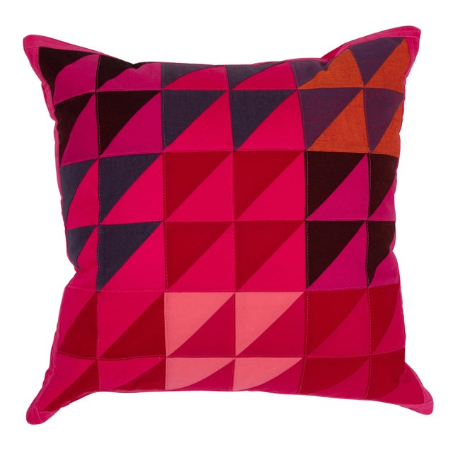 2010s Modern Square Colorful Quilted Pillow For Sale - Image 5 of 5