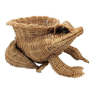 Vintage Cottage Wicker Frog Planter For Sale