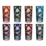 Image of Verdure Highball Glasses, Set of 8, Jewel Tones (Racer Green, Burnt Orange, Ink, Mahogany, Purple, Red, Peacock, Smoke) For Sale
