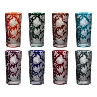 Verdure Highball Glasses, Set of 8, Jewel Tones (Racer Green, Burnt Orange, Ink, Mahogany, Purple, Red, Peacock, Smoke) For Sale
