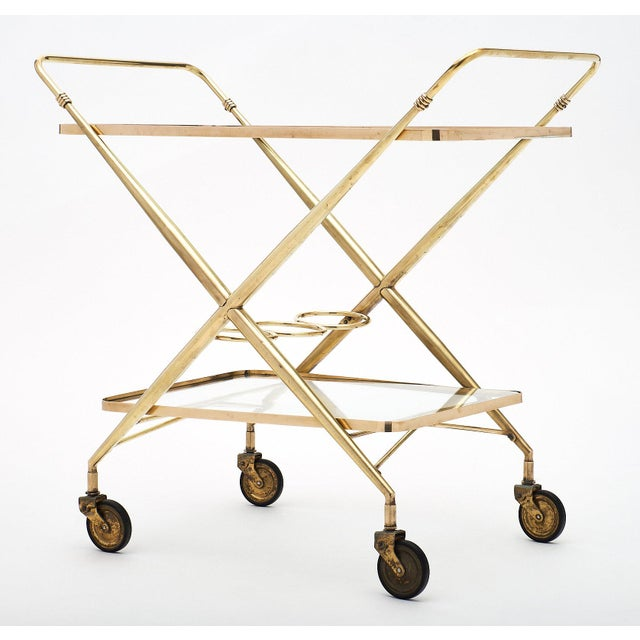 Vintage French Brass Bar Cart For Sale - Image 9 of 11