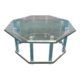 Hollywood Regency Brass and Lucite Coffee Table For Sale