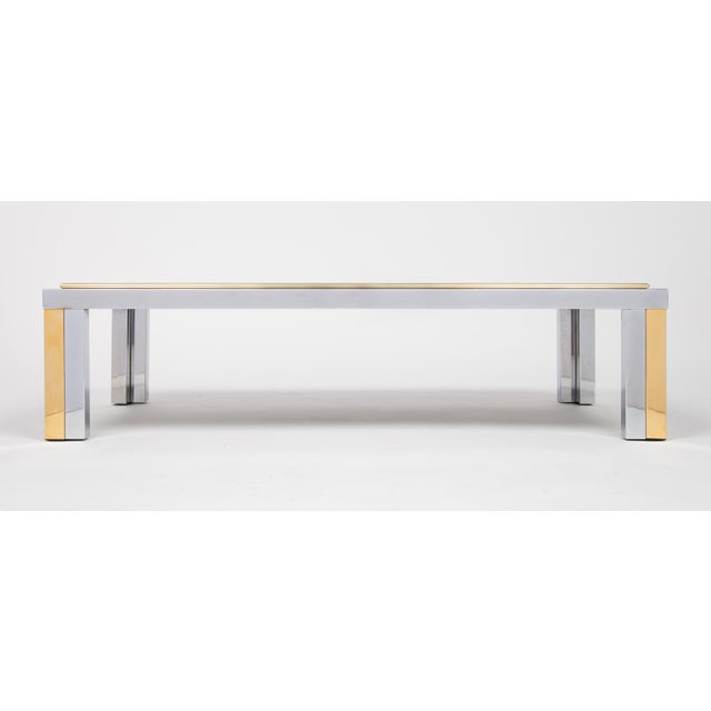 Brass Vintage Romeo Rega Chrome and Brass Coffee Table For Sale - Image 7 of 11