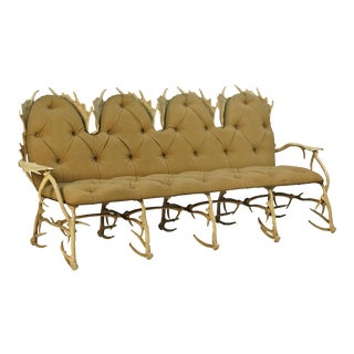Early 20th Century Arthur Court Antler Settee For Sale