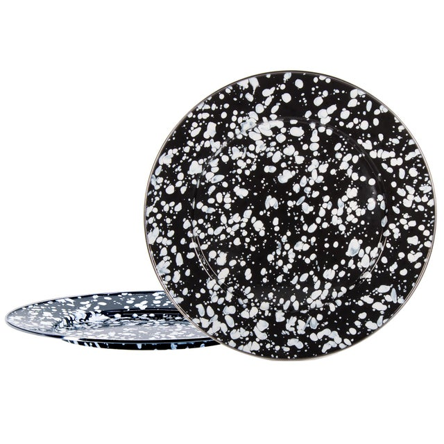 Modern Charger Plates Black Swirl - Set of 2 For Sale - Image 3 of 3