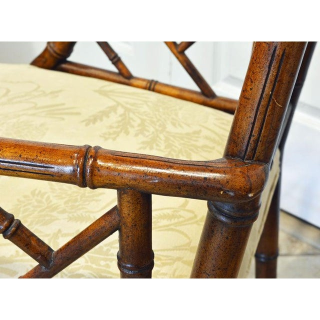 Wood Pair of Chinoiserie Chippendale Style Upholstered Faux Bamboo Wooden Armchairs For Sale - Image 7 of 13