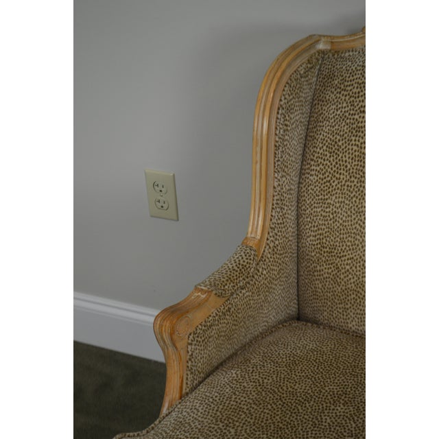 French Louis XV Style Custom Upholstered Wide Seat Bergere Chair With Ottoman For Sale - Image 9 of 13