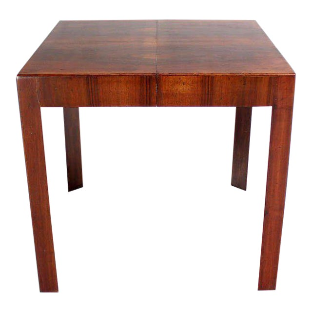 Oiled Walnut Italian Mid-Century Modern Game or Dining Table with One Leaf For Sale