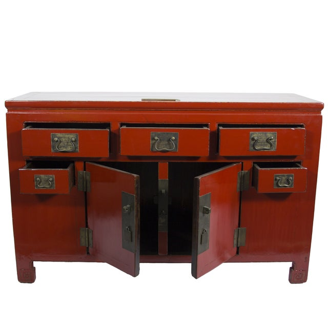 Red Chinese Sideboard Cabinet - Image 2 of 3
