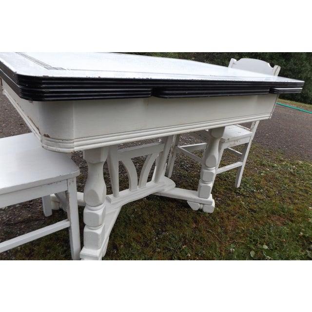 White Porcelain Expandable Farmhouse Table Set - Image 11 of 11