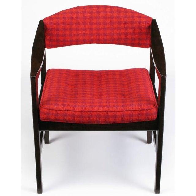 Dunbar Furniture Dunbar Walnut & Crimson Check Upholstered Arm Chair For Sale - Image 4 of 10
