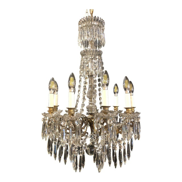 French Napoleon III Signed Portieux Crystal Chandelier For Sale - Image 9 of 9