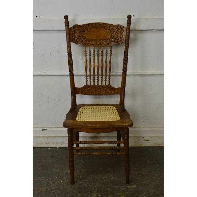 Antique Set of 6 Pressed Back Oak Cane Seat Dining Chairs For Sale - Image 4 - Antique Set Of 6 Pressed Back Oak Cane Seat Dining Chairs Chairish
