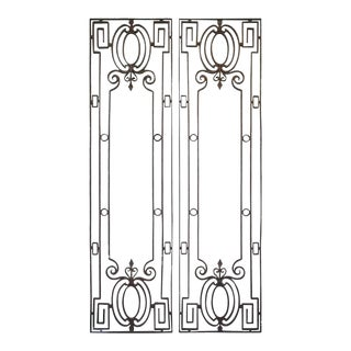 Pair of Wrought Iron Door Guards For Sale