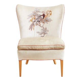 Mid-Century Velvet Butterfly Wingback Chair For Sale
