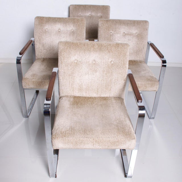 Mid Century Modern Milo Baughman for Thayer Coggin Chrome Dining Chairs-Set of 4 For Sale - Image 11 of 11