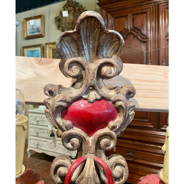 Late 20th Century Pair of Italian Carved Wood and Metal Gilt and Silvered Two-Light Wall Sconces For Sale - Image 5 of 8