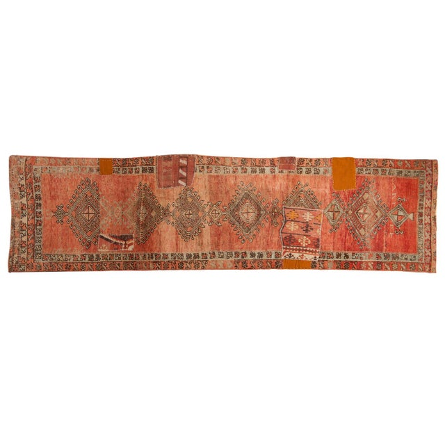 "Vintage Distressed Patchwork Oushak Rug Runner - 2'10"" X 10'7"" For Sale - Image 12 of 12"