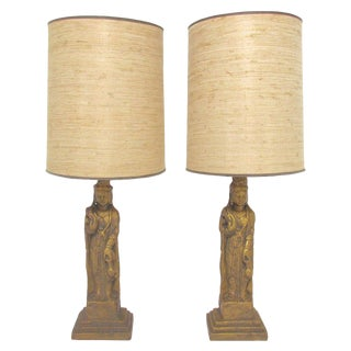 Pair of Hollywood Regency Standing Buddha Table Lamps by Westwood For Sale