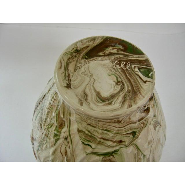 1970s 1979 Art Nouveau Mottled Glazed Ceramic Vase For Sale - Image 5 of 7