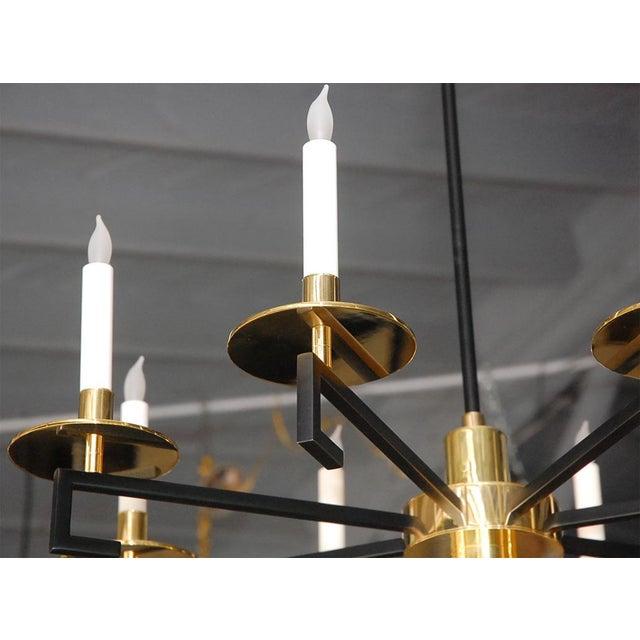 Customizable Paul Marra Design Greek Key Chandelier in Brass - Image 4 of 8