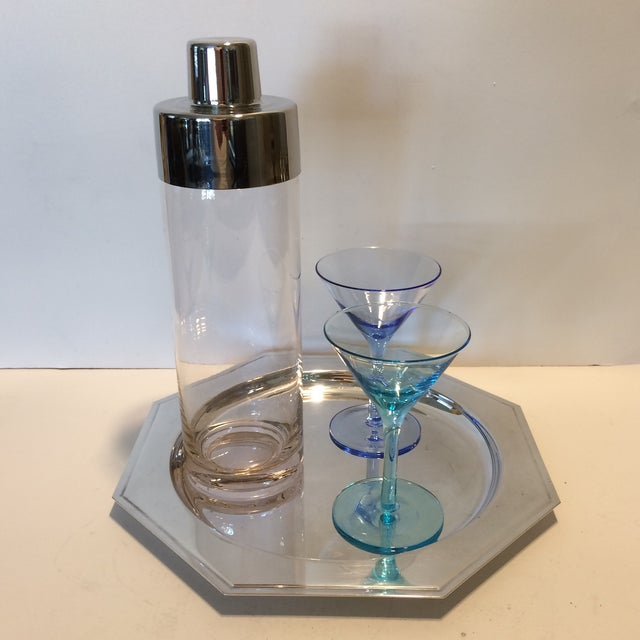 Vintage Martini Shaker with 2 Glasses & Silver Plated Tray Set - Image 4 of 11