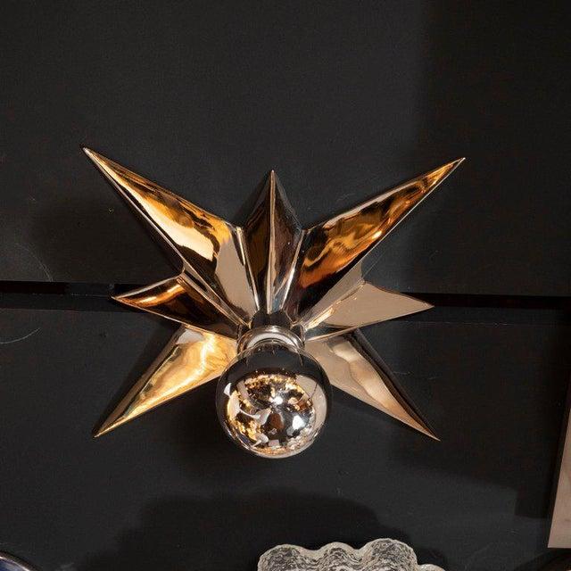 Mid-Century Modern Polished Nickel Star Flush Mounts - Set of 4 For Sale - Image 4 of 10