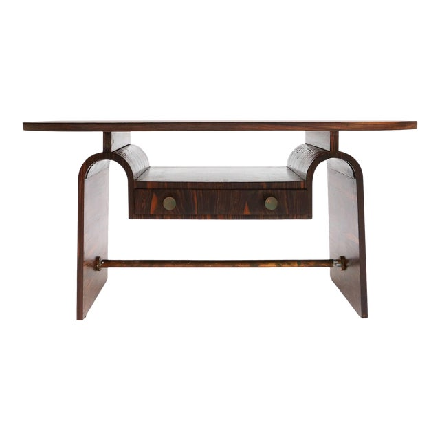 Modernist macassar Art Deco coffee table for Metz & Co For Sale