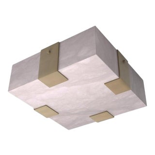 Contemporary 002A-4C Flushmount in Alabaster and Brass by Orphan Work For Sale