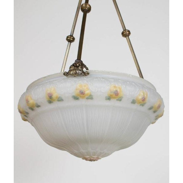Mid 19th Century 19th Century Yellow Floral Glass Bowl Pendant Light Fixture For Sale - Image 5 of 8