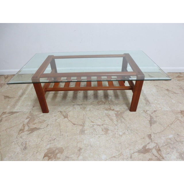 A Danish Modern S. Burchardt Nielsen coffee table. Great shape. tight and sturdy. minor wear and scratches.