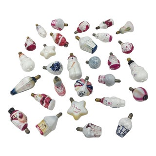 1920's Antique Milk Glass German Light Bulb Ornaments - Collection of 24 For Sale