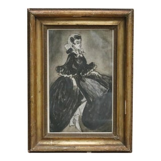 Black & White 19th Century Woman in Gold Frame
