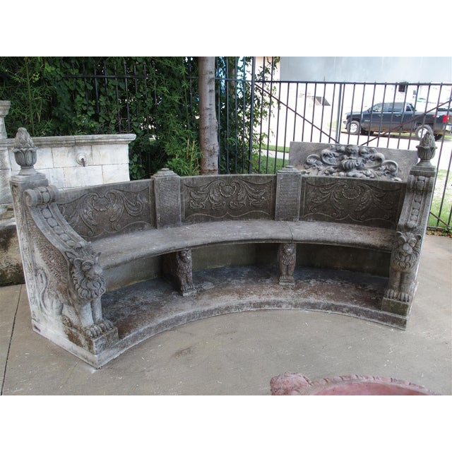 A Large Semi Circular Carved Limestone Griffins Bench - Image 2 of 11
