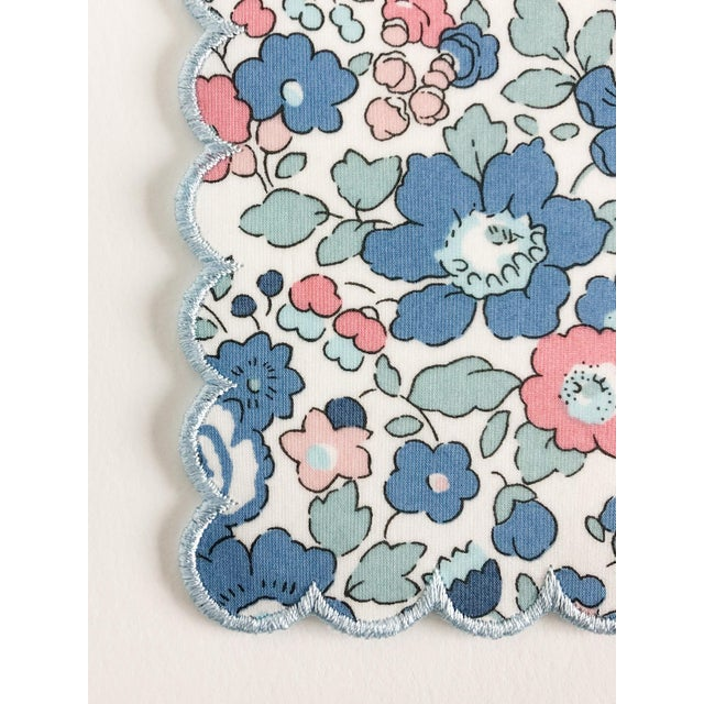 Liberty of London Scalloped Cocktail Napkins Betsy Blue with Baby Blue Trim - Set of 4 For Sale - Image 4 of 5