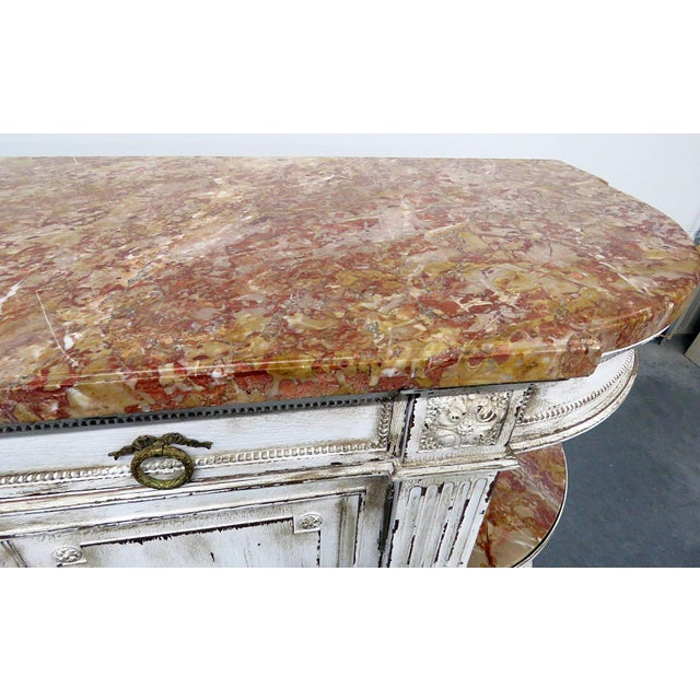 Wood Antique Marble Top Paint Decorated Sideboard For Sale - Image 7 of 10