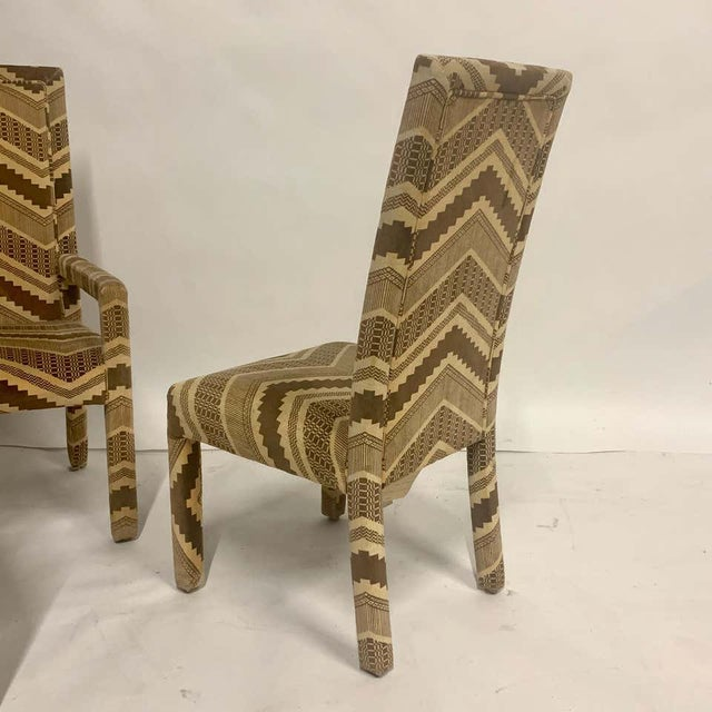 Beige Set of Six 1970s Glam Zig Zag Parsons or Tuxedo Velvet Upholstered Dining Chairs For Sale - Image 8 of 11