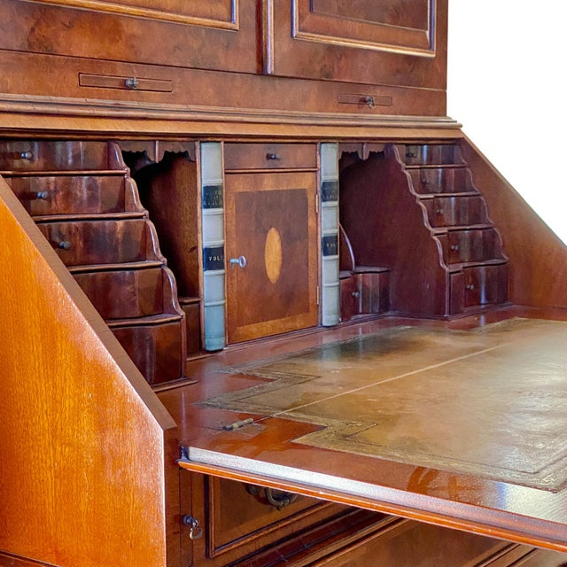 Brown Vintage English Queen Anne Style Walnut Secretary Bookcase For Sale - Image 8 of 9